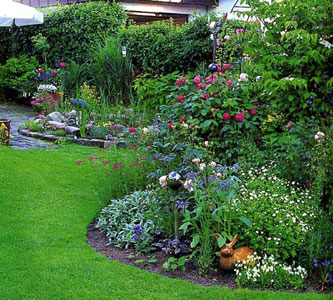 Garden Design Garden Design with Perennial Flowers and Plants in
